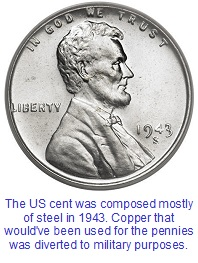 Steel pennies were made in 1943 to preserve copper for the war effort