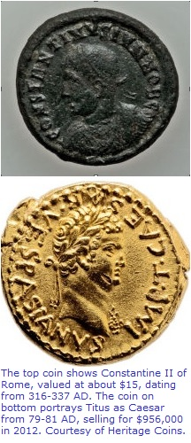 Ancient coins of high and low value