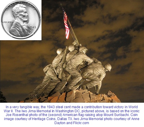 1943 steel cent and Iwo Jima Memorial