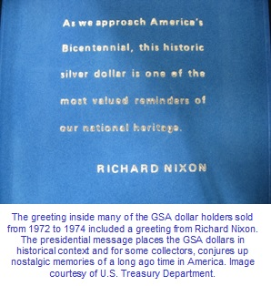 GSA dollar holder greeting President Richard Nixon