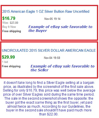 High and Low eBay sales for Silver Eagles