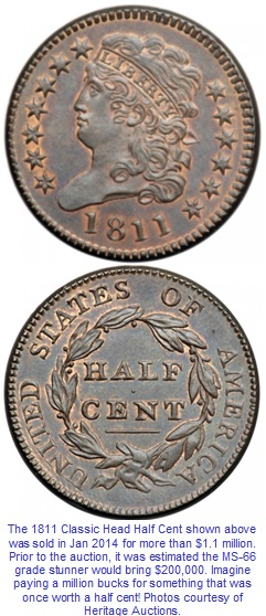 1811 Half Cent in MS-66 Sells for over $1 million
