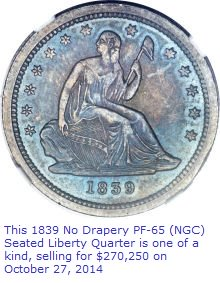 1839 Proof Seated Liberty Quarter sold