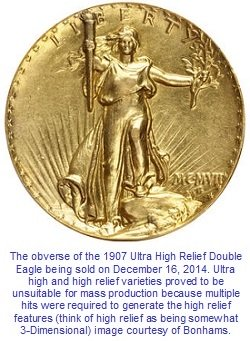 1907 Ultra High Relief $20 St. Gaudens Double Eagle for sale
