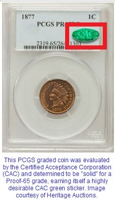 A PCGS coin with a CAC green sticker