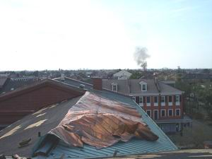 Damage to New Orleans Mint roof after Katrina