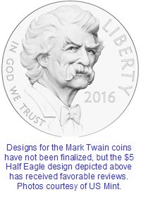 2016 Mark Twain $5 gold Half Eagle coin