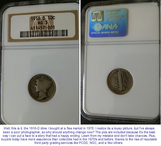 1916-D Mercury Dime graded by NGC