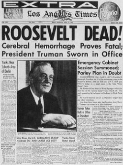 Death of Frankling Roosevelt